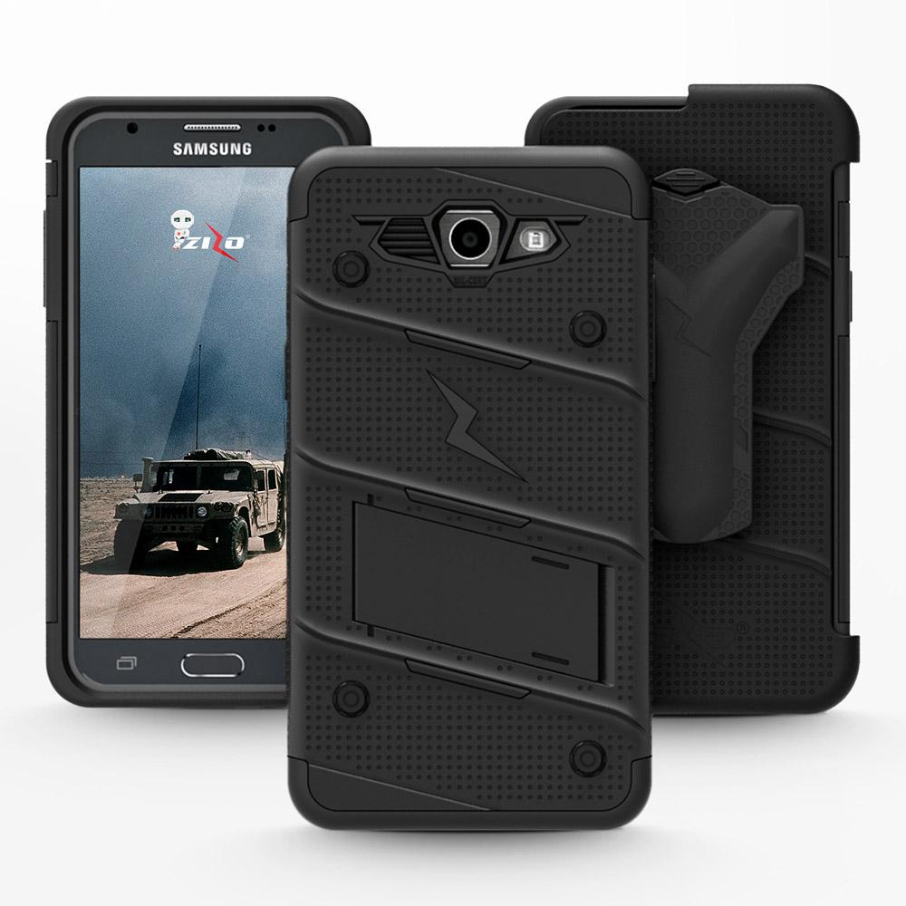 Details about Galaxy J3 Emerge Case, Zizo Bolt w/ Kickstand and Screen  Protector- J3 Prime
