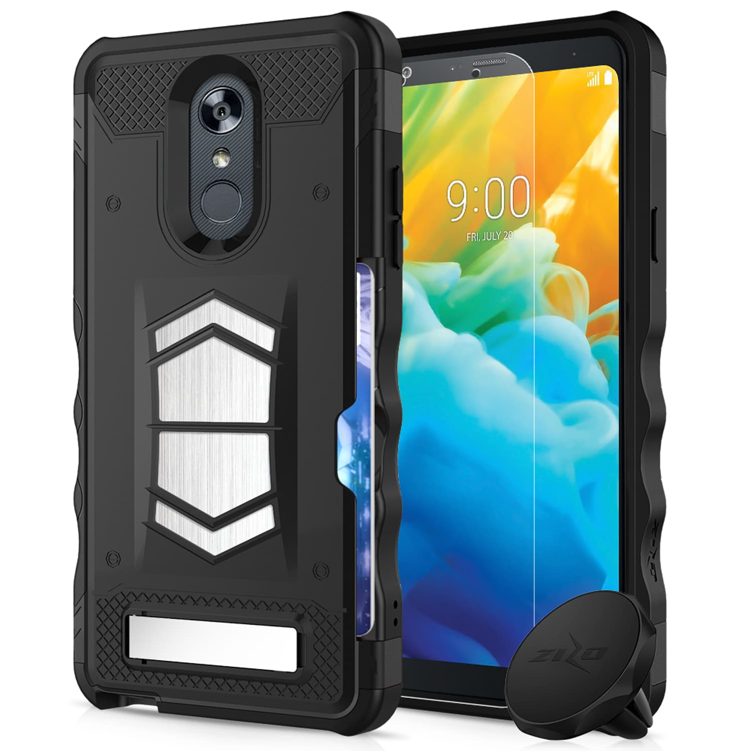 Details about LG Stylo 4 Case, Zizo Electro Series with Card Slot Magnetic  Air Vent Holder