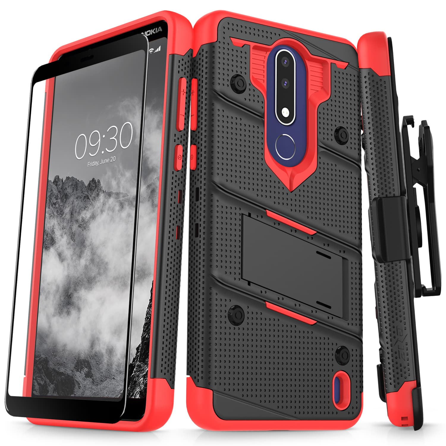 best service 72dcc 361fa Details about Nokia 3.1 Plus Case, Zizo Bolt Series with Kickstand Screen  Protector Holster