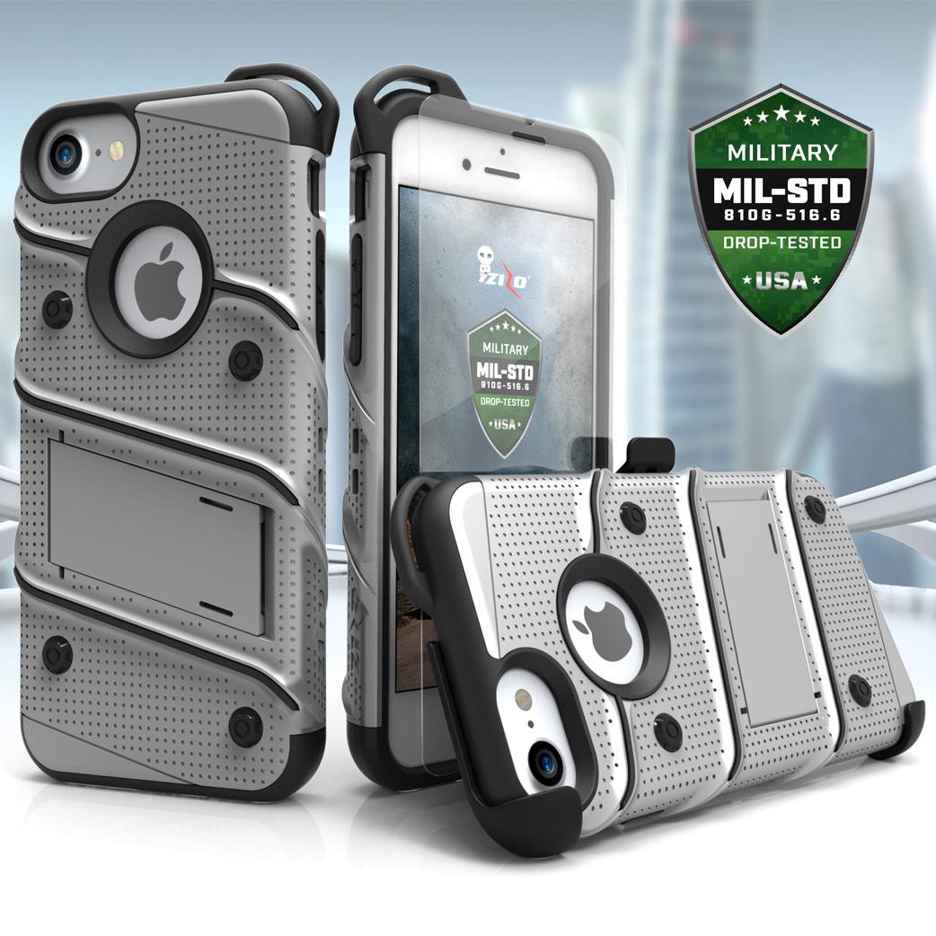 sale retailer e41b2 af3e8 Details about iPhone X / 8 / 8 Plus / 7 / 7 Plus / SE Case Zizo Bolt  Tempered Glass Screen